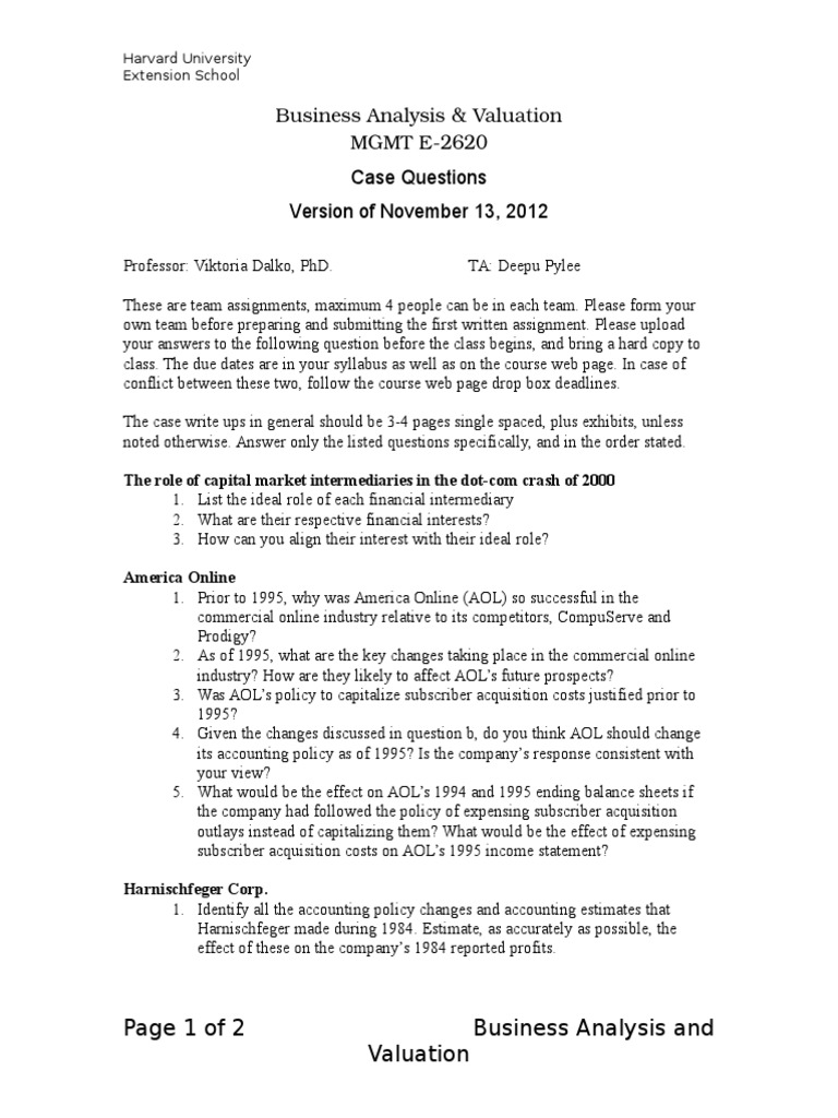 BAV Case Questions January 2013_Version of November 13 2012