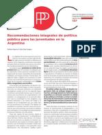 137 DPP PS, Recomendaciones Integrales de Política Pública Para Las Juventudes en La Argentina, Repetto y Diaz Lango, 2014
