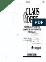 Offe Clauss Partidos Politicos y Nuevos Movimientos Sociales Pp 55 87 y 163 244 Madrid Sistema 1988