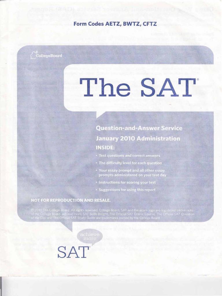 January 2010 essay prompt sat