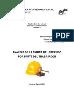 Derecho Laboral Análisis Grupal Preaviso