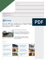 Kereta Wisata Ambarawa Telah Tidak Beroperasi Per 1 April - Tribun Jateng