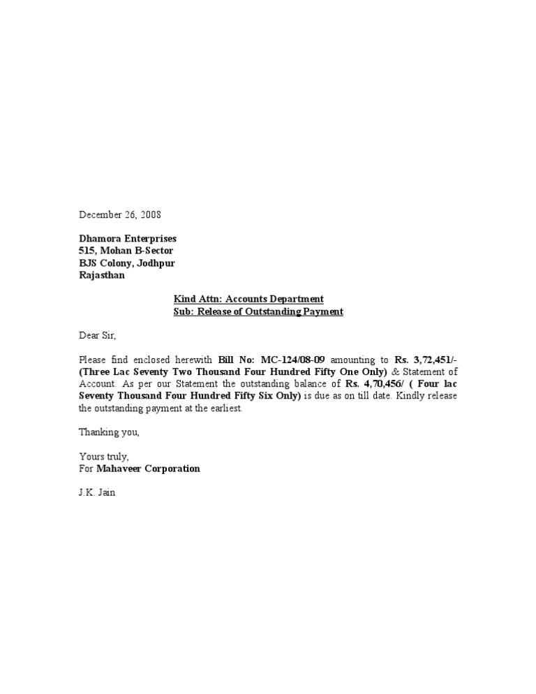 Sample of billing statement letter militaryalicious sample of billing statement letter payment release letter dhamora enterprises spiritdancerdesigns Image collections
