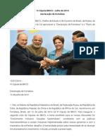VI Cúpula BRICS – Julho de 2014 - Declaração de Fortaleza