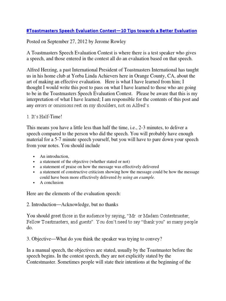 Toastmasters Speech Evaluation Contest   Evaluation (18 views)