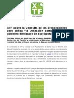 """XTF apoya la Consulta de las prospecciones pero critica """"la utilización partidista de un gobierno disfrazado de ecologista"""".doc"""