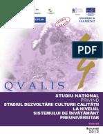 Studiu National Privind Stadiul Dezvoltarii Culturii Calitatii