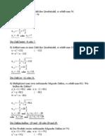 Quadratische Gleichungen – Zahlrätsel 1 – Lösungen