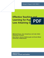 Effective Teaching and Learning for Pupils in Low Attaining Groups (2007)