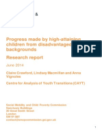 'Progress Made by High-Attaining Children From Disadvantaged Backgrounds' - Research Report (2014)