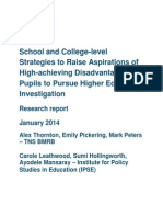 'School and College-level Strategies to Raise Aspirations of High-Achieving Disadvantaged Pupils to Pursue Higher Education' - Research Report (2014)