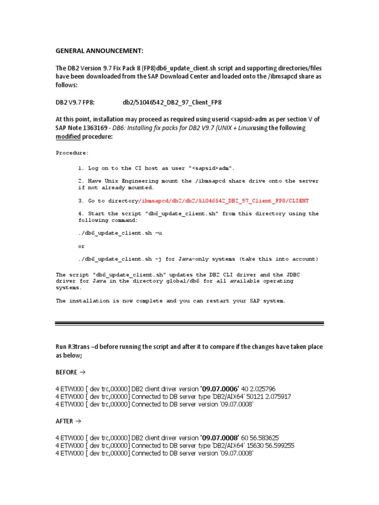 Applying DB2 Version 9 7 Fix pack   Ibm Db2   Operating