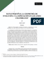 Ranas Pequeñas, La Geometría de Evolución, y La Especiación en Los Andes Colombianos