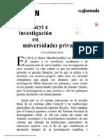 La Jornada_ Conacyt e Investigación en Universidades Privadas
