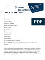 NMMU SRC Student Parliament Financial Report