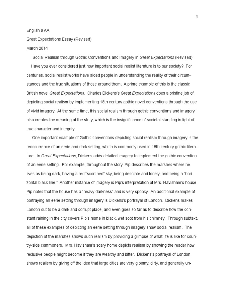 Essay on Social Realism through Gothic conventions in Great ...