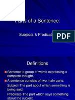 parts of the sentence-subjects  predicates