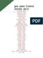 Codigos de Control Remoto Para Tv