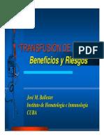 Transfusion de Sangre, Beneficios y Riesgos