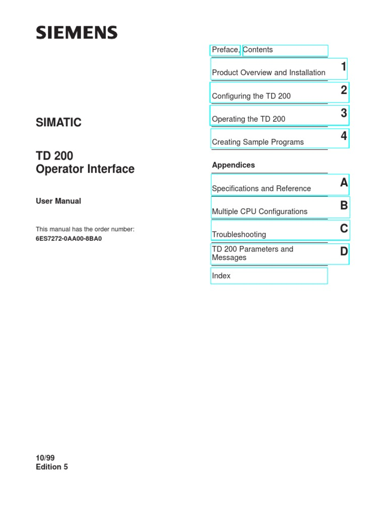 Manual td 200 central processing unit dialog box sciox Image collections