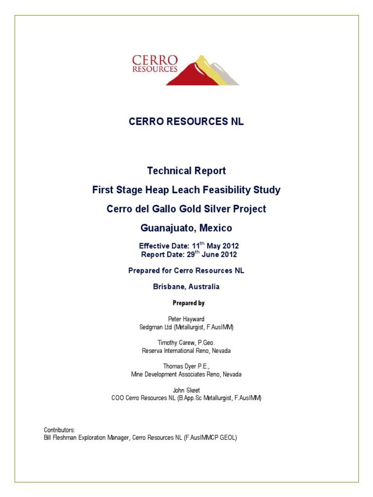 Cerro Del Gallo Technical Report June 29 2012 V001 P6jy8i Mining Sgm 1 Explor 1000g Silver