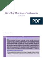 Top 25 Articles of Mathematics