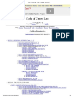 Code of Canon Law - Table of Contents - IntraText CT