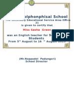 Certificate for Sasha