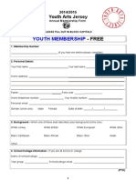 Annual Membership Form- Youth Arts Jersey 2014/2015