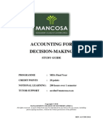 MBA 2 Accounting for Decision Making Jan 2014