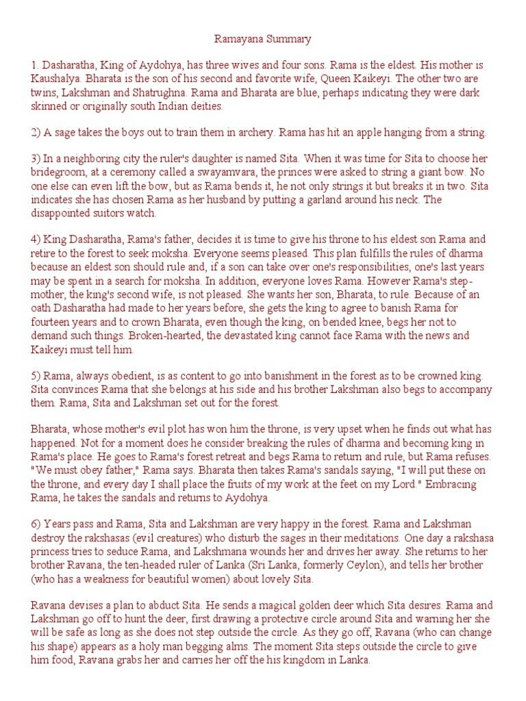 Story summary ramayana Ramayana Short