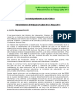 Multisectorial Por La Educación Pública - Informe Octubre 2013-Mayo 2014