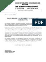 NO AL ALZA DE PASAJES, RESPETO A LA TARIFA ESTUDIANTIL , Comunicado de prensa