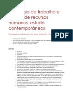 Psicologia Do Trabalho e Gestão de Recursos Humanos