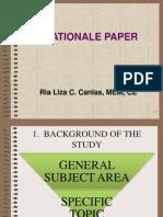 Rationale Paper Format