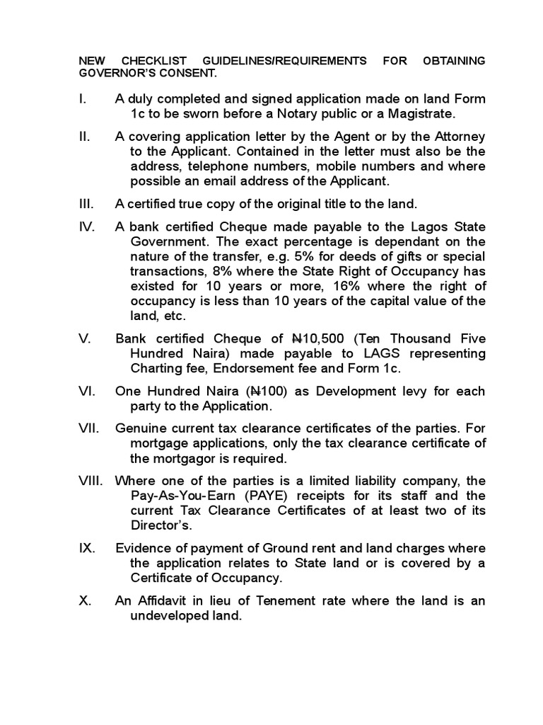 Checklist for Land Consent Lagos State   Mortgage Law   Civil Law ...