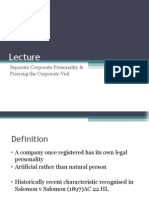 Lecture 3 Piercing the Corporate Veil