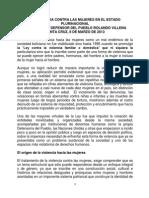 Ponencia Del Defensor Del Pueblo Sobre La Violencia Contra Las Mujeres en El Estado Plurinacional