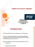 Disorders of Platelet Adhesion