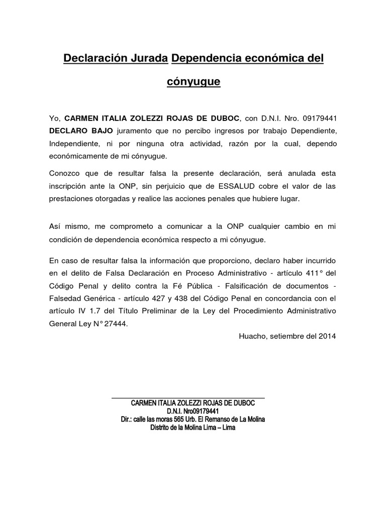 Vistoso Plantilla De Una Declaración Jurada Bosquejo - Ejemplo De ...