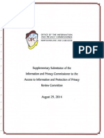 Supplementary Submission of the Information and Privacy Commissioner to the Access to Information and Protection of Privacy Review Committee