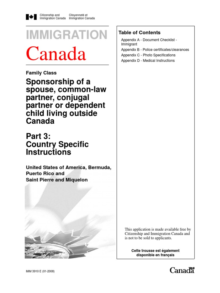 Canada Immigration Forms 3910e Permanent Residence United States
