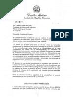 Carta del Presidente Danilo Medina al Senado-Loma Miranda