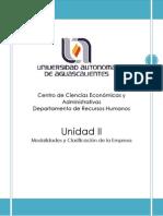 Unidad II Clasificacion de La Empresa Agosto 2014