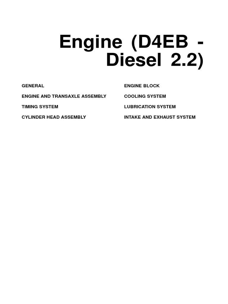 motor hyundai d4eb diesel 2 2 piston cylinder engine rh scribd com Santa Fe Diesel Locomotives Santa Fe Diesel Locomotives