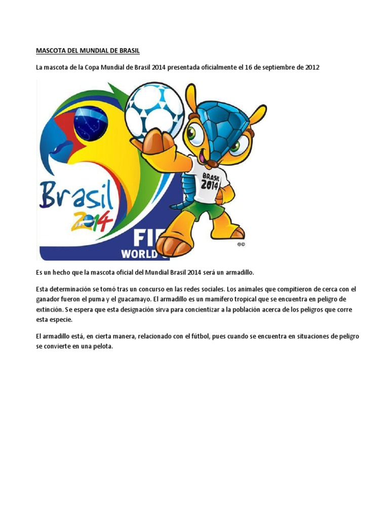 Mascota Del Mundial de Brasil 7ab3dd1c17d2d