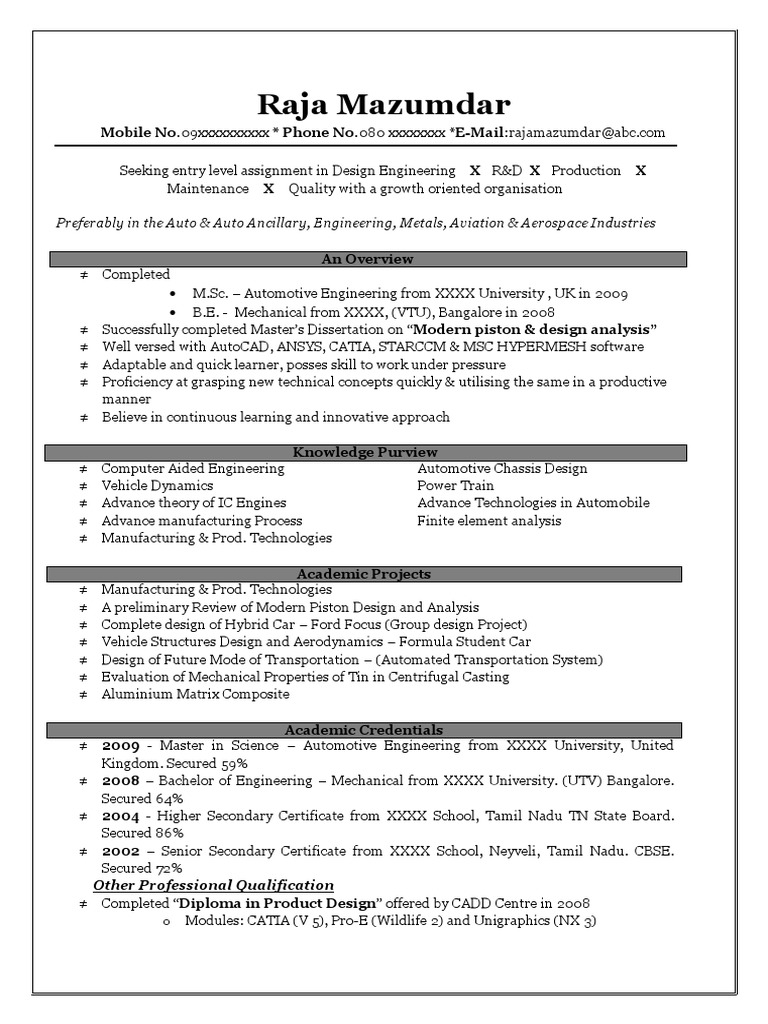 Very Effective Resume for Freshers | Engineering | Car