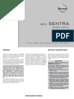 Nissan Sentra 2012 Owners User Manual PDF Download