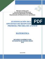 Justificación de Las Opciones de Respuesta de La Primera Prueba de Avance - Matematica 9º