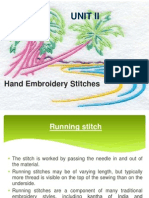Basic Embroidery hand stitches - method of doing..